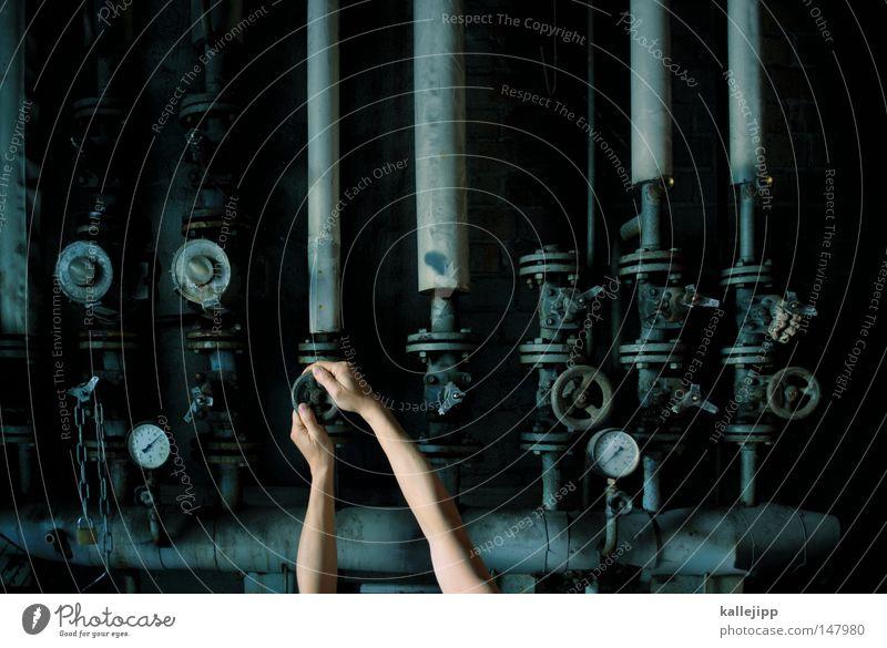 eingabe widerrufen mechanisch Mechanik Eisenrohr Heizungsrohr Druckanzeige Ventil Rost Arme Hand drehen regulieren Maschine aufdrehen schließen veraltet