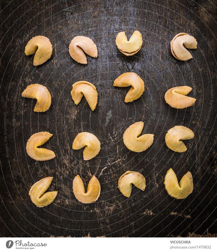 Glückskekse Auswahl Foodfotografie Stil Holz Lebensmittel Design Ernährung Tisch Symbole & Metaphern Restaurant Dessert Stillleben China Keks Mitteilung Chinese Asiatische Küche