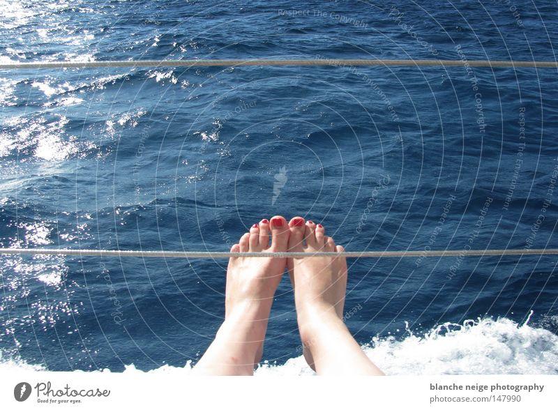 blaumachen Wasser Meer blau rot Sommer Ferien & Urlaub & Reisen Fuß Wasserfahrzeug Wellen Schwimmen & Baden Australien Zehen Zehennagel Cairns Great Barrier Reef
