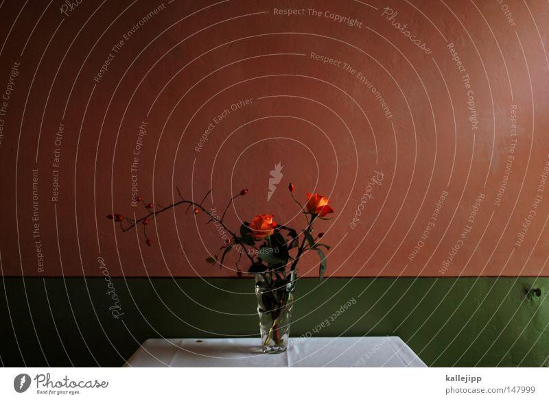 versteck Blume Vase Blumenstrauß Strauß Blumenhändler schön Dekoration & Verzierung Tisch Wand Design Möbel rot grün zusätzlich Zweig Blatt Blüte rustikal retro