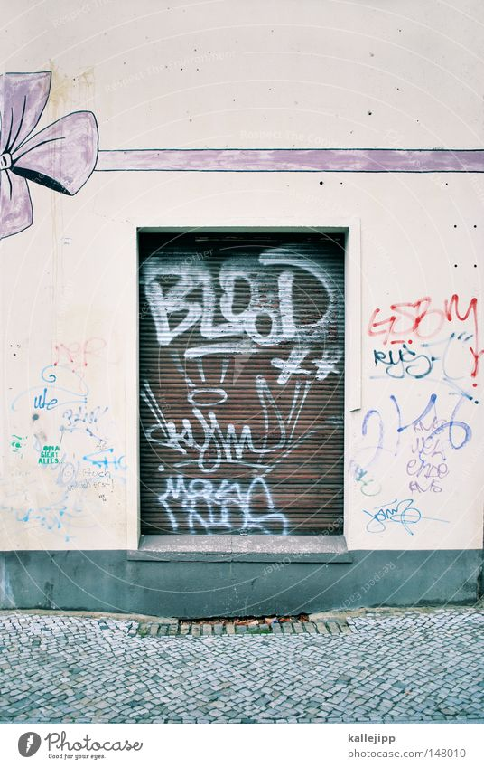 nanunana Straße Fenster Wand Wunsch Schnur Bürgersteig Ladengeschäft Eingang Schleife Jalousie Rollladen Traumhaus Verpackung Geschenkband