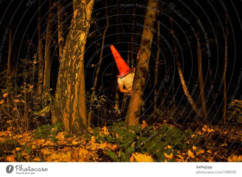 rumpelstilzchen Mensch Mann blau weiß Baum rot Freude Wald Wand Straße Mauer Spielen klein Lifestyle Kunst hell