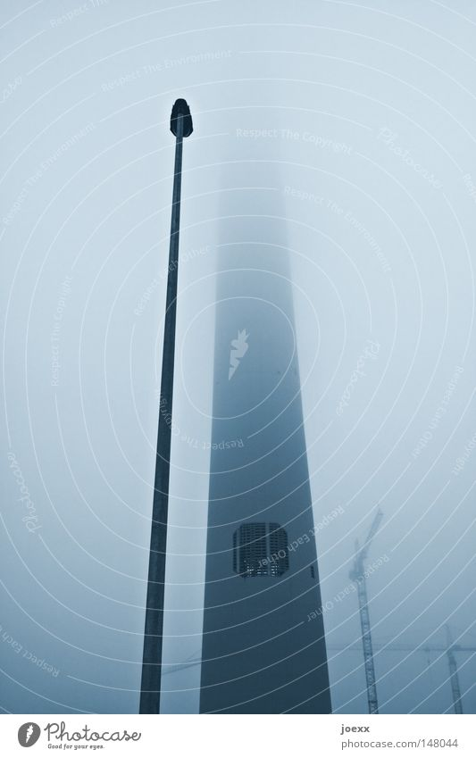 Zwei wie Pech im Nebel Lampe Herbst Nebel hoch Industrie lang Laterne Handwerk Schornstein Straßenbeleuchtung Kran Zuneigung