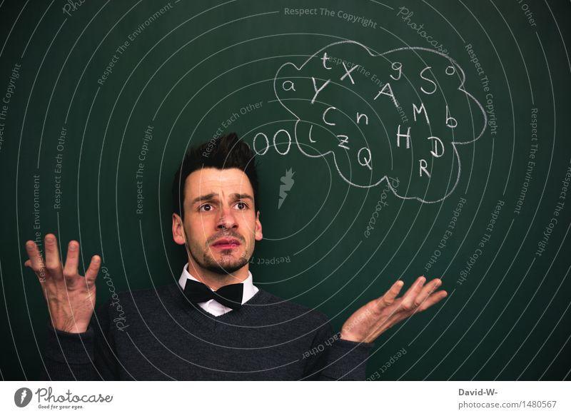 Analphabet Mensch Jugendliche Mann Junger Mann Erwachsene sprechen Schule Kopf Gesundheitswesen Business maskulin lernen Studium Buchstaben Bildung