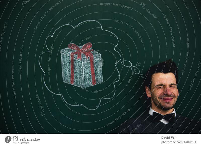Wunschgedanke Mensch Mann Weihnachten & Advent Freude Erwachsene Leben Glück Kunst Denken Kopf maskulin träumen Zufriedenheit Geburtstag Kindheit Geschenk