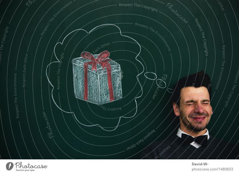 Wunschgedanke Reichtum Glück sparen Zufriedenheit Weihnachten & Advent Geburtstag Mensch maskulin Mann Erwachsene Leben Kopf Kunst Denken Hoffnung kaufen
