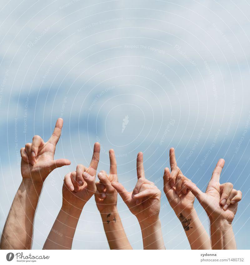 Textfreiraum oben Mensch Jugendliche Hand 18-30 Jahre Erwachsene Leben Feste & Feiern Schule Menschengruppe Freiheit Party Freundschaft Kommunizieren Lebensfreude Finger Idee