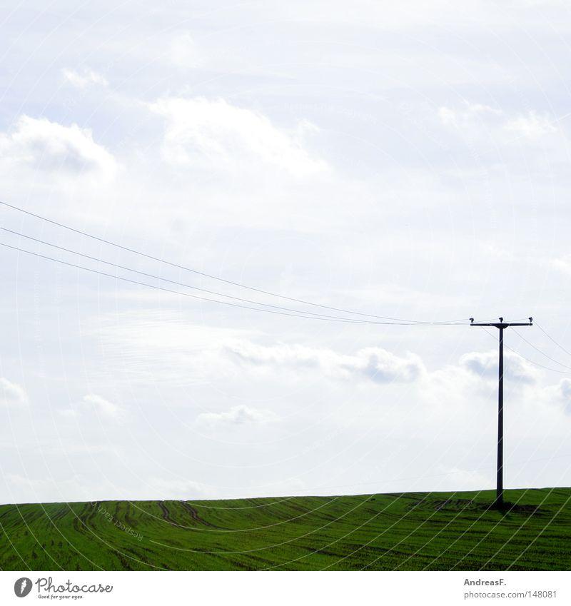 Lange Leitung Natur Himmel Wolken Landschaft Feld Umwelt Energie Energiewirtschaft Elektrizität Kommunizieren Kabel Telekommunikation Computernetzwerk Stahlkabel Strommast Telefon