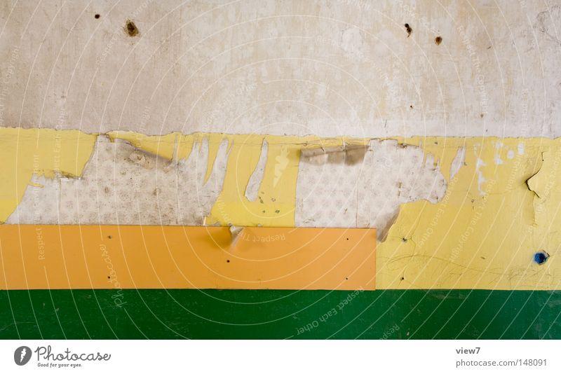 WandStreifen ruhig Tapete Lack Linie alt dreckig gelb grün Farbe Zahn der Zeit schäbig orange Loch verfallen mehrfarbig Nahaufnahme Detailaufnahme Muster