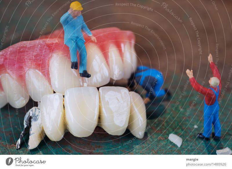 Miniwelten - Zahnsanierung III Mensch Mann blau grün rot Erwachsene Gesundheit Gesundheitswesen maskulin Körper Baustelle Reinigen Zähne Gebiss Schmerz