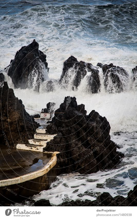 Treppe zum erfrischenden Seebad Umwelt Natur Landschaft Pflanze Winter schlechtes Wetter Unwetter Sturm Felsen Wellen Küste Seeufer Meer Insel Schwimmbad