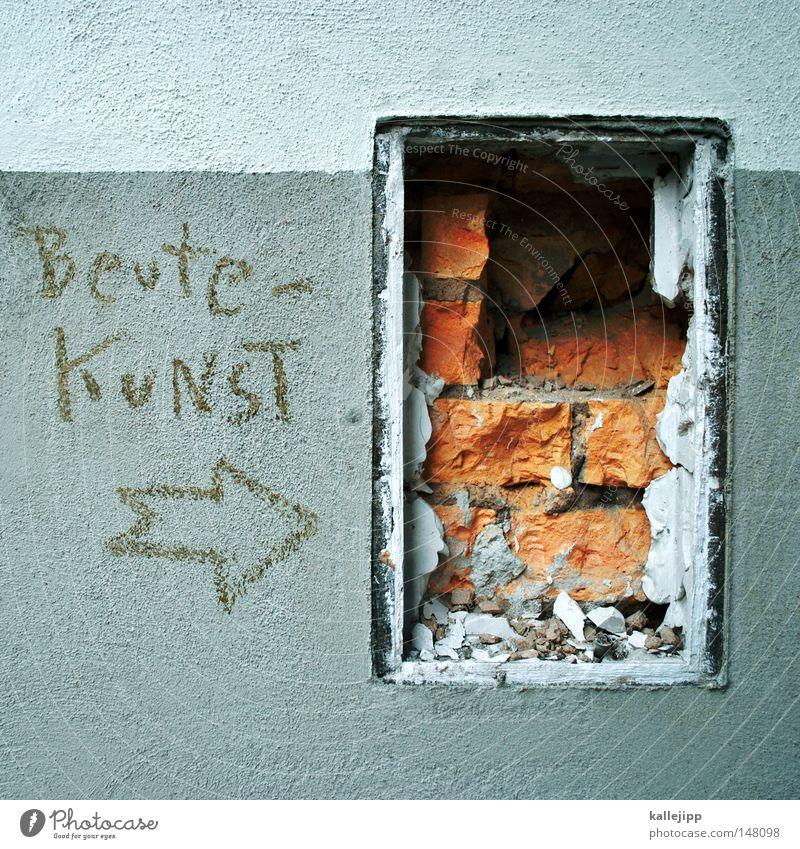 ich war da Wand Stil Graffiti Kunst kaputt Schriftzeichen Macht Pfeil Pfeile Schriftstück Backstein Eingang Loch Straßenkunst Richtung Messe