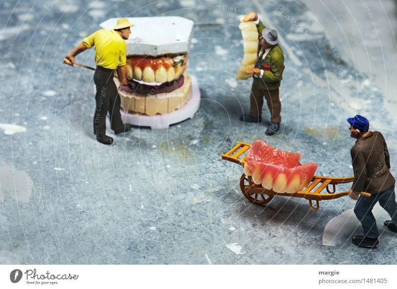 Miniwelten - Zahnsanierung II Mensch Mann weiß Erwachsene Gesundheitswesen rosa maskulin Mund Baustelle Güterverkehr & Logistik Team Zähne Beruf Gebiss Arzt