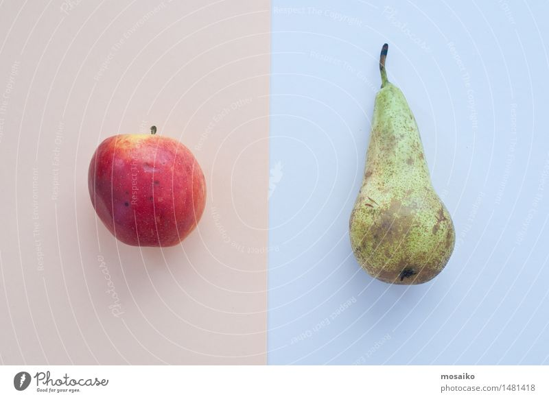 Apfel und Birne Lebensmittel Büffet Brunch Picknick Bioprodukte Vegetarische Ernährung Diät Fasten Fingerfood Kunst ästhetisch Zufriedenheit gleich Kreativität