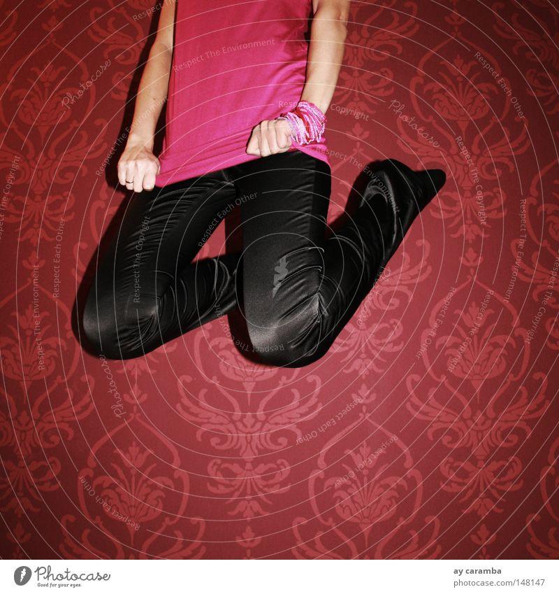 think pink springen rosa fliegen auf Schusters Rappen schwarz Tapete Freude Jugendliche