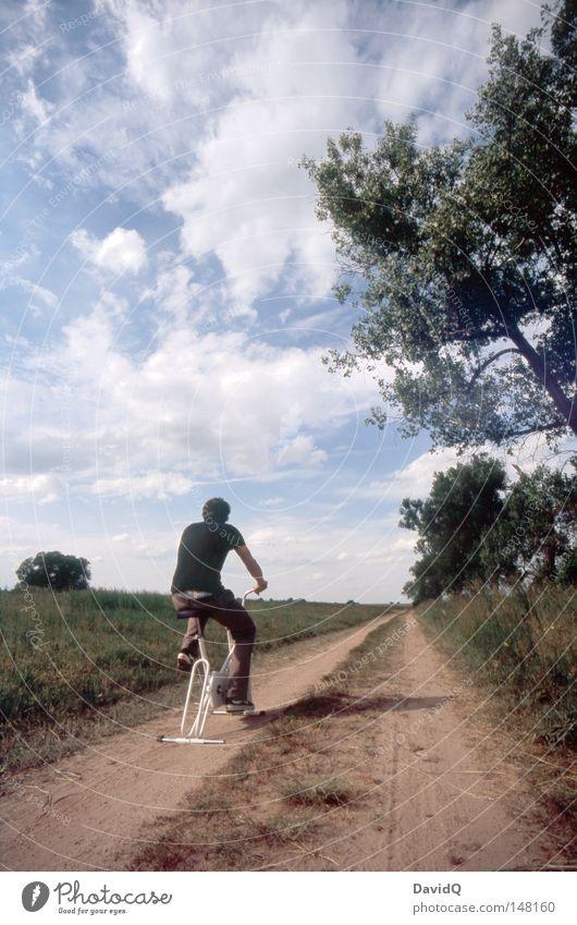 der weg ist das ziel Natur Baum Sommer Wolken ruhig Ferne Straße Spielen Bewegung Wege & Pfade Feld Fahrrad Geschwindigkeit stehen fahren Ziel
