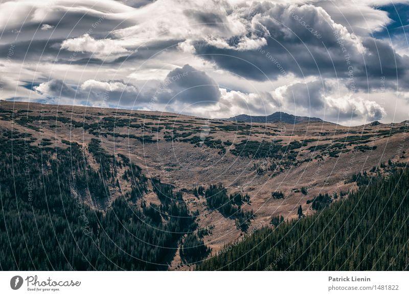 Wolken treffen Berge Ferien & Urlaub & Reisen Abenteuer Berge u. Gebirge Umwelt Natur Landschaft Himmel Klima Klimawandel Wetter Park Wald Felsen See Fernweh