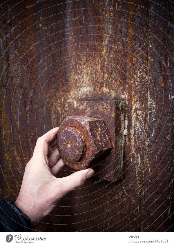 Lösungsansatz Werkzeug maskulin Mann Erwachsene Hand 1 Mensch Schraubenmutter Metall Stahl Rost drehen ästhetisch außergewöhnlich groß braun gelb rot