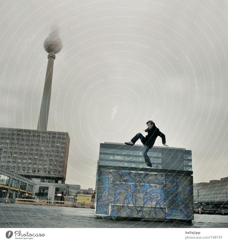 folklore Mensch Mann Hand Stadt Haus Fenster Berge u. Gebirge Gefühle Berlin Architektur springen See Luft Linie Tanzen Glas