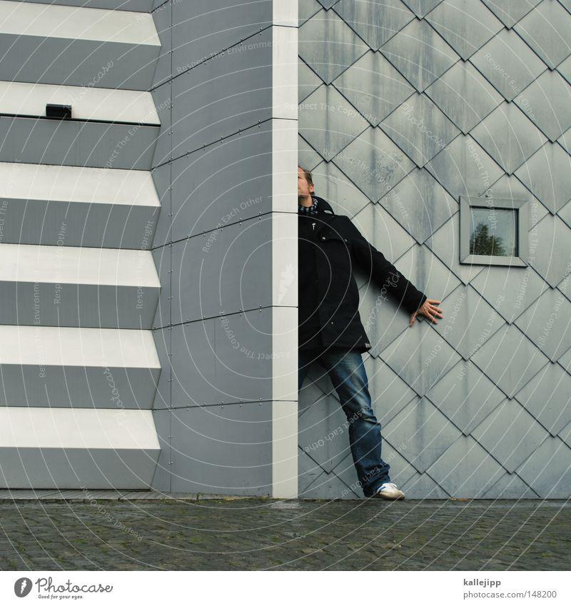 half life Mensch Mann Stadt Hand Haus Fenster Berge u. Gebirge Architektur Gefühle fliegen See Linie Fassade springen Luft Freizeit & Hobby