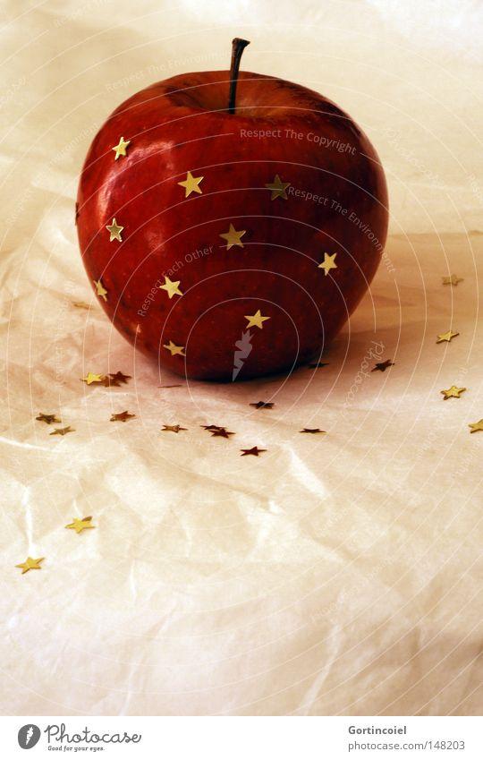 Apfel und Sterne Weihnachten & Advent rot Winter Feste & Feiern glänzend Dekoration & Verzierung Stern (Symbol) Weihnachtsdekoration schimmern Dessert