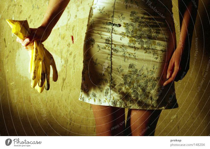 Greetings to Krasnoyarsk Mensch Frau Jugendliche schön Beine Mode ästhetisch Reinigen Kleid dünn Handschuhe Gummi attraktiv Raumpfleger Hüfte Chinesisch