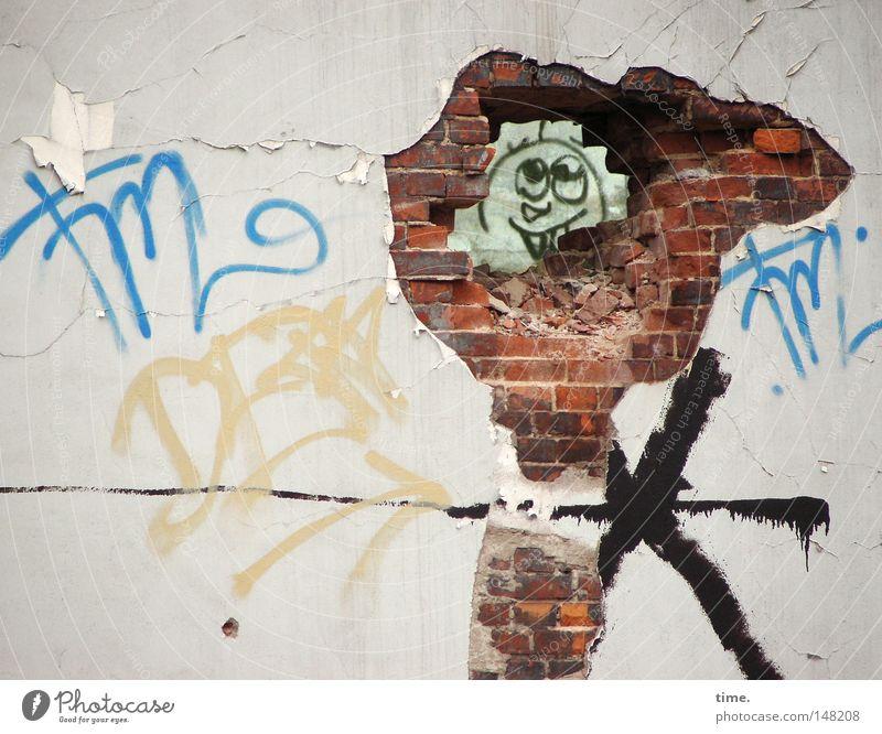 H08.2 - Hinter jeder Mauer ein Lächeln / Break On Through Farbe Wand Stein Mauer Graffiti Fassade verrückt ästhetisch einzigartig Neugier verfallen Backstein trashig historisch grinsen Riss