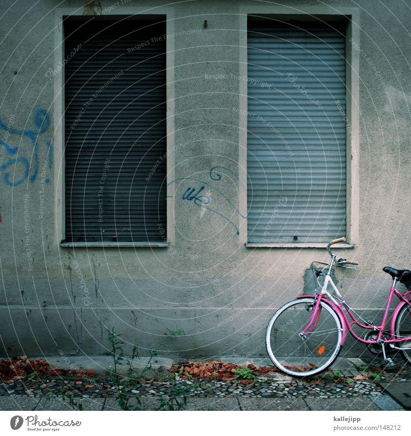my name is luca Fahrrad Oldtimer Rad Hinterhof Gitter Einfahrt Abstellplatz Fahrradweg Billig ökologisch Klimaschutz Gummi Silhouette Ständer Mauer Rücklicht