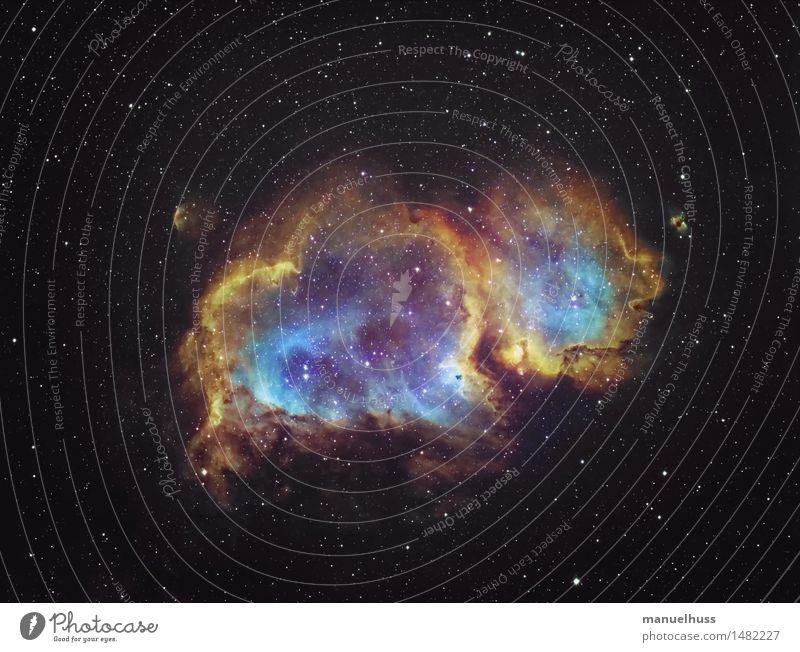 The Soul Nebula Wissenschaften Astronomie Astrofotografie Nebel Wolken Weltall Nachthimmel Stern Seelennebel Interstellare Wolke blau gelb orange schwarz