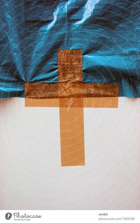 Kontaktstelle blau Religion & Glaube orange einfach Zeichen Streifen Schutz Hoffnung Sicherheit Kunststoff fest Kreuz eckig Christentum
