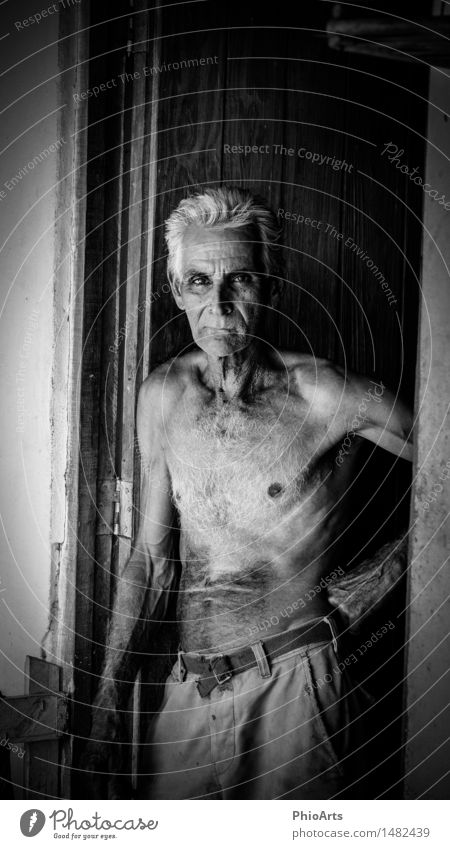 Original Cuban Farmer Mensch maskulin Mann Erwachsene Männlicher Senior Vater Großvater Kopf 1 60 und älter Hose Stoff weißhaarig Behaarung Brustbehaarung alt