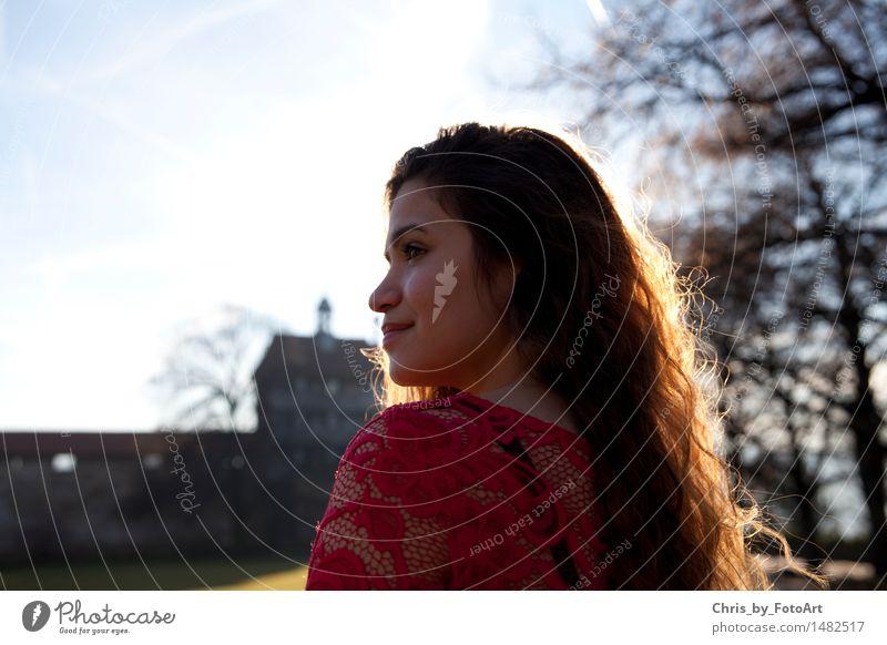 chris_by_fotoart elegant Sommer Junge Frau Jugendliche Erwachsene 1 Mensch 13-18 Jahre Landkreis Esslingen Burg oder Schloss Sehenswürdigkeit Wahrzeichen Kleid