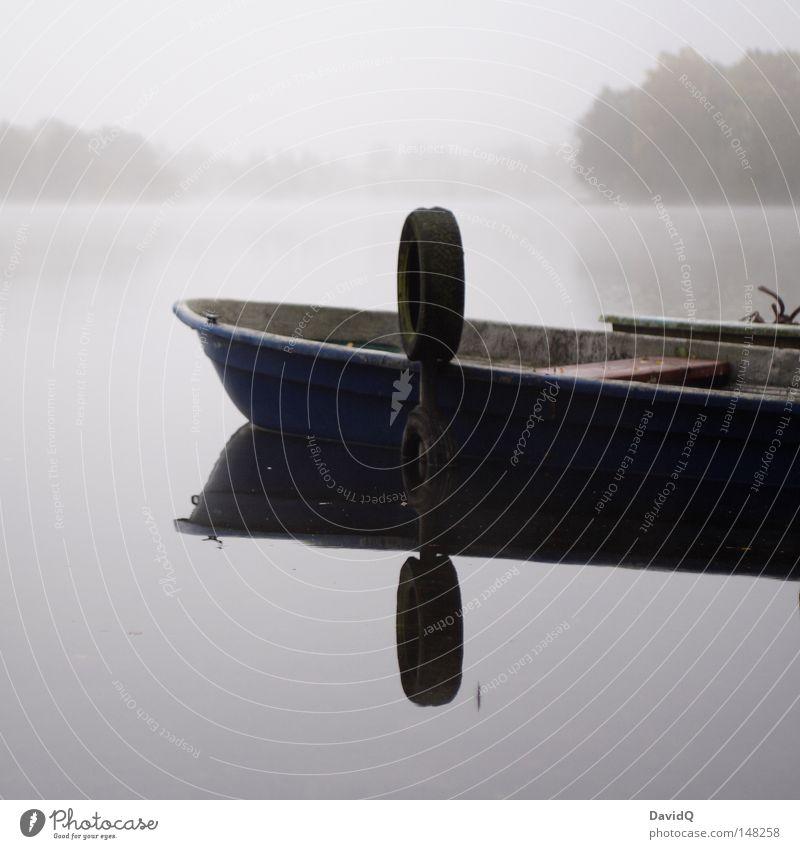 ...to the nebelsee Wasser ruhig dunkel kalt Erholung Herbst grau See Wasserfahrzeug Nebel Wassertropfen Frost Hafen Tau Teich Dunst