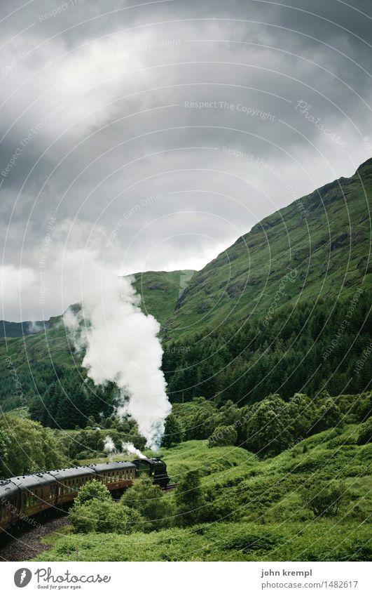 Dampf ablassen Natur Wald Hügel glenfinnan Schottland Verkehr Verkehrsmittel Schienenverkehr Bahnfahren Eisenbahn Lokomotive Dampflokomotive Personenzug dunkel