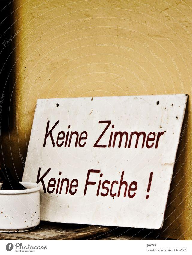 Weisse bescheid! Information Tourismus Klarheit Schilder & Markierungen Ferien & Urlaub & Reisen vermieten Hinweisschild keine fische reisen zimmer frei