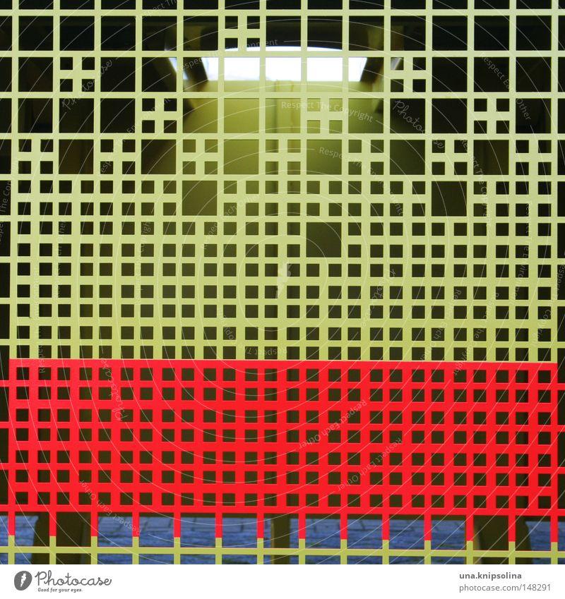 raster Industrie Maske Metall Kreuz gelb rot Raster graphisch Grafik u. Illustration Gitter Metallwaren Blech Quadrat Industriefotografie Muster