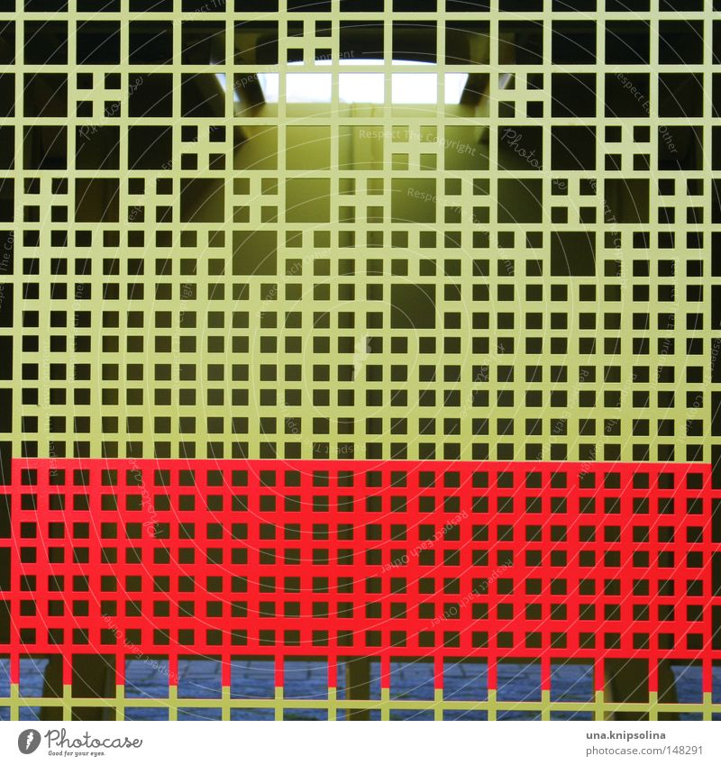 raster rot gelb Metall Metallwaren Industrie Grafik u. Illustration Industriefotografie Maske Kreuz Quadrat Gitter graphisch Blech Raster Muster