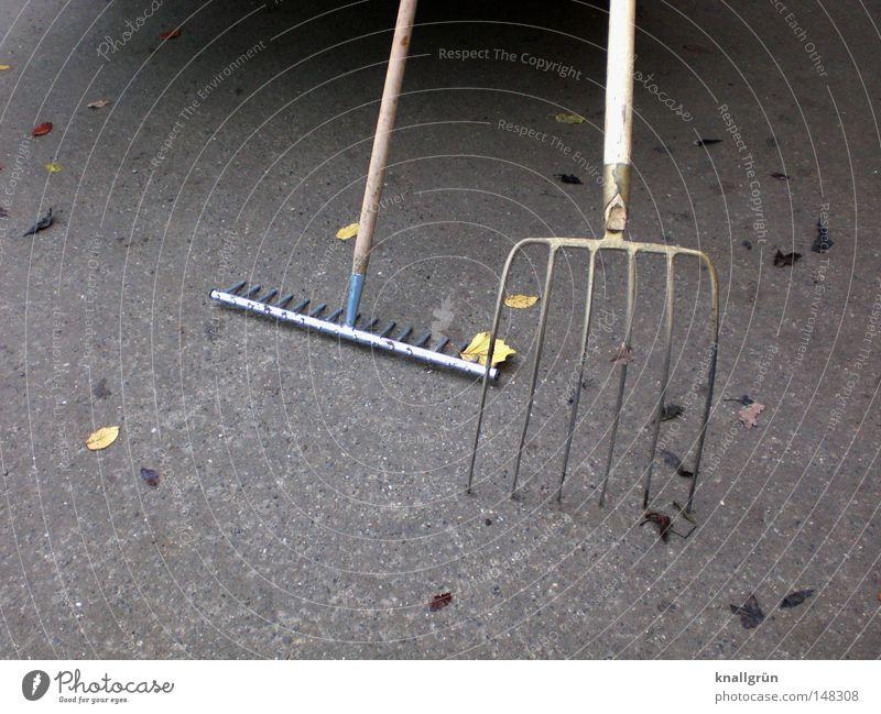 Feierabend! Blatt Arbeit & Erwerbstätigkeit Herbst Holz Metall Sauberkeit Beruf Dienstleistungsgewerbe Handwerk parken fertig Gärtner aufräumen Forke Rechen