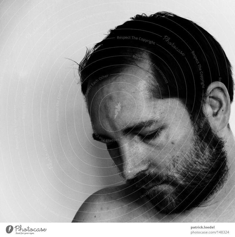 My Father & Me Mensch Mann weiß schwarz kalt Kopf Traurigkeit Denken Angst Erwachsene maskulin Nase Trauer Ohr Bart Selbstportrait