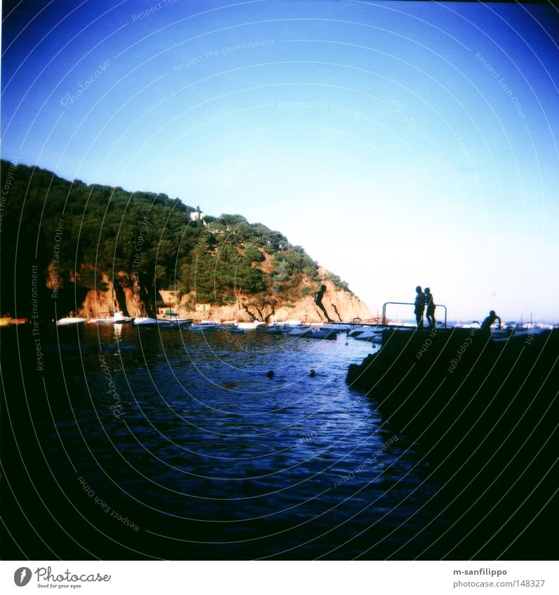 Rücklings Platsch! Mensch Himmel blau Wasser Baum Sonne Ferien & Urlaub & Reisen Sommer Meer Freude Wald kalt Spielen springen Wellen Felsen