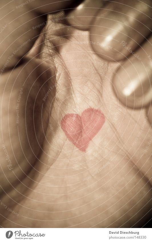 Liebeserklärung Hand Farbe Herz Haut Finger Hautfalten streichen berühren Falte Tattoo greifen sozial Fingernagel bemalt Valentinstag