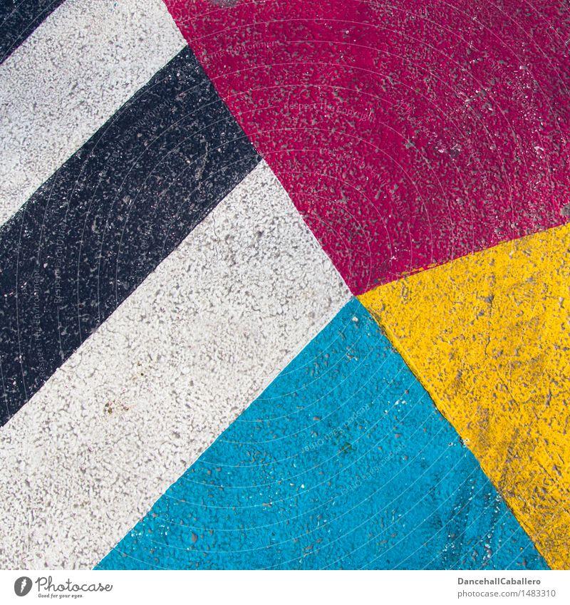 Die wunderbare Welt der Geometrie l 2 blau Farbe weiß rot schwarz gelb Straße Farbstoff Hintergrundbild Lifestyle Linie Design Verkehr dreckig elegant modern