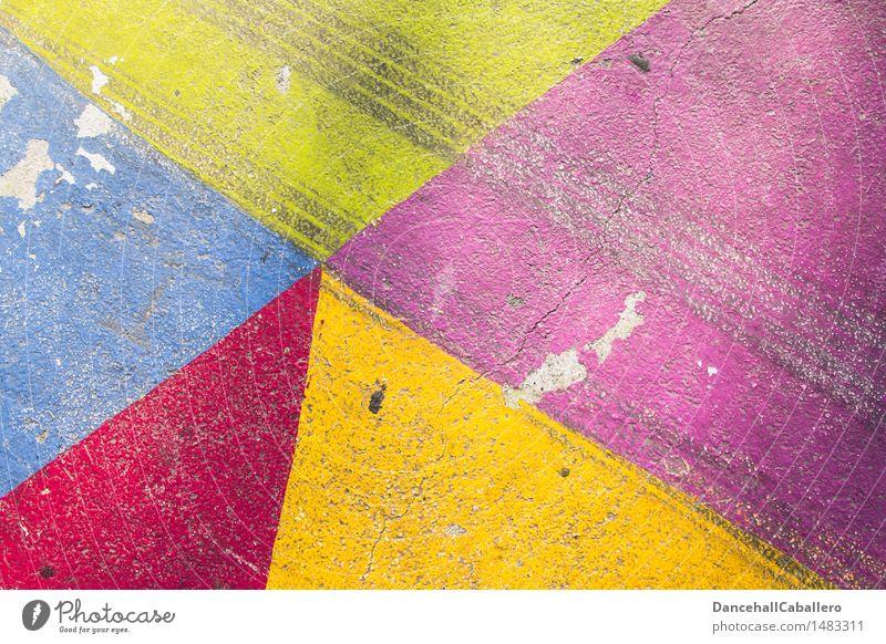 Die wunderbare Welt der Geometrie l 4 Lifestyle elegant Design Verkehr Straße Linie ästhetisch dreckig trendy Kitsch modern Spitze blau gelb grün violett rot