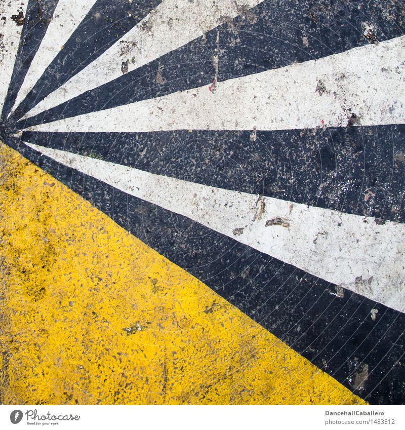 Comic l Strahlung Energiewirtschaft Kernkraftwerk modern gelb schwarz weiß leuchten strahlend strahlenförmig Linie Geometrie Symmetrie Licht Farbe kaputt Bruch