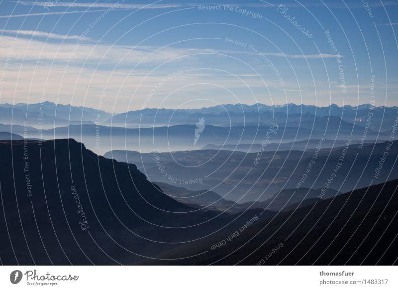 Berge, Panorama, Sfumato, Landschaft Erde Himmel Horizont Sonne Schönes Wetter Baum Felsen Alpen Berge u. Gebirge Gipfel Unendlichkeit Abenteuer Freiheit ruhig