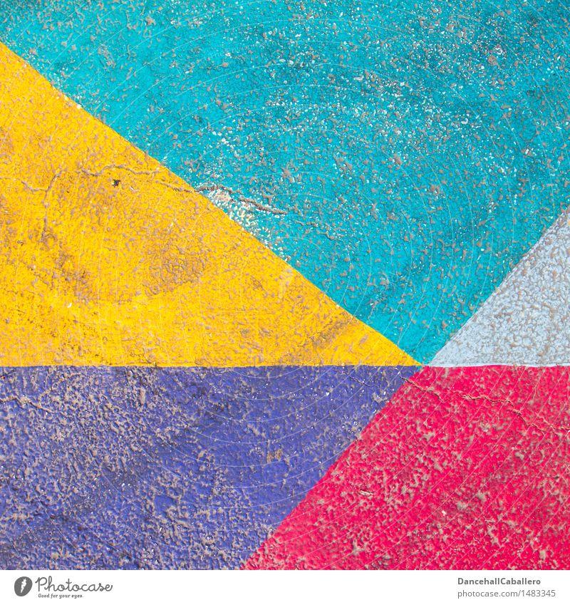 Die wunderbare Welt der Geometrie l 3 blau Farbe weiß rot gelb Straße Farbstoff Hintergrundbild Lifestyle Linie Design Verkehr dreckig elegant modern ästhetisch