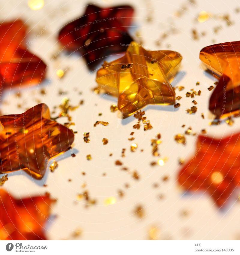 GlitzerSternchen Weihnachten & Advent weiß rot Freude Winter gelb Feste & Feiern Lampe hell orange glänzend Dekoration & Verzierung mehrere gold Stern (Symbol)