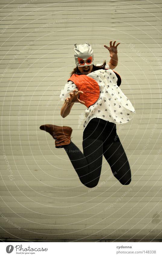 Sprunghaft Frau Mensch Hand schön Freude Einsamkeit Leben Gefühle springen Spielen Stil Kraft lustig fliegen Zeit