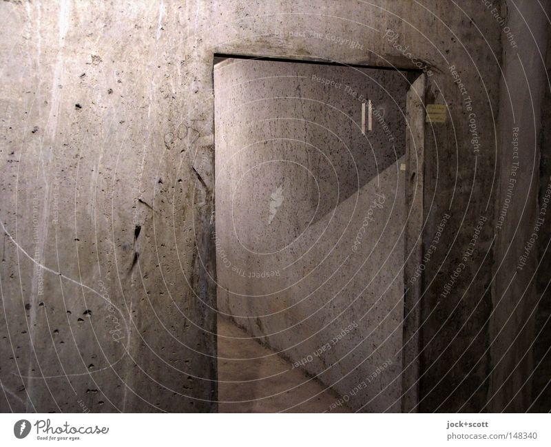 farblose Halbtöne Wand grau Linie Raum modern ästhetisch leer Boden Bodenbelag Häusliches Leben Baustelle Teile u. Stücke Grenze tief Putz vertikal