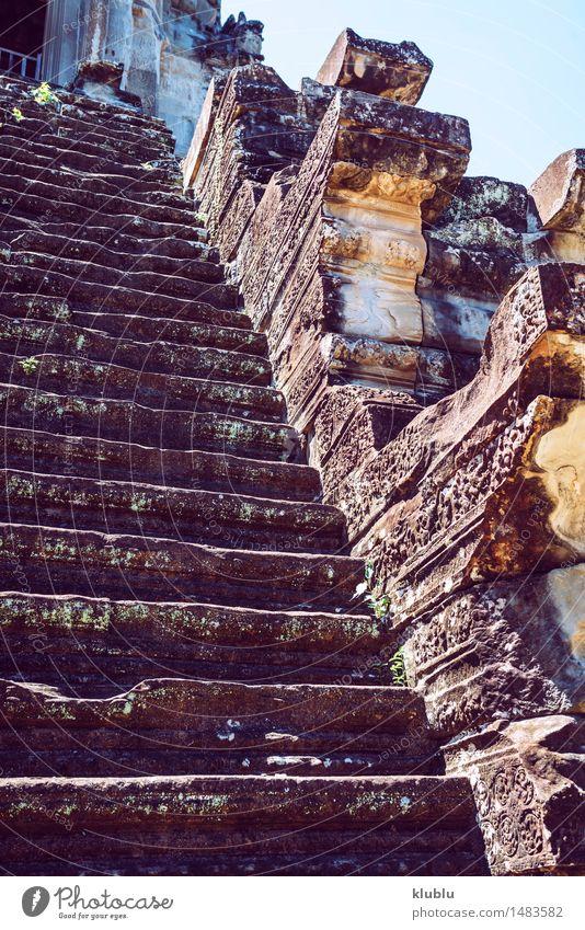 Angkor Wat Tempel, Siem Reap, Kambodscha Himmel Ferien & Urlaub & Reisen alt Gesicht Architektur Religion & Glaube Gebäude See Stein Tourismus Kirche